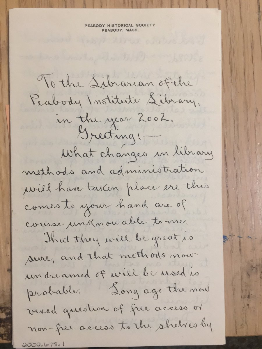 Day 20 and for something fun here's 4 pages from letter from the librarian of the @PeaLibArchives wrote in 1902 to the future #librarian of 2002 about the institution and future hopes for #librarianship in the years to come. #archive30<br>http://pic.twitter.com/42QrXlUUCY