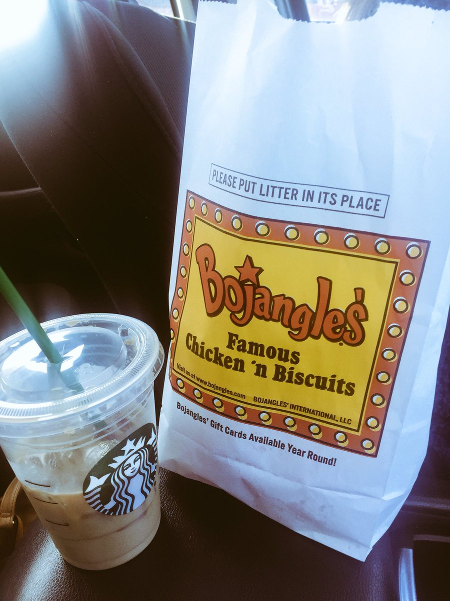 When you're southern basic white girls &amp; you gotta fuel up for bridal shower shopping @Bojangles1977 @Starbucks #priorities @JaceyVail #Steph #betterwithmeador<br>http://pic.twitter.com/eOJEabMOyr