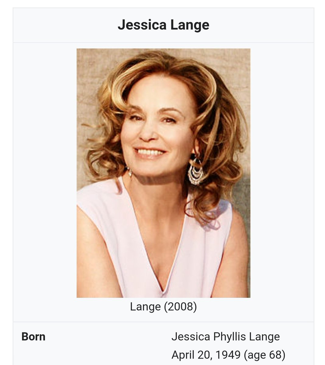 Happy birthday to actress Jessica Lange who is turning 69 today, 4/20.
