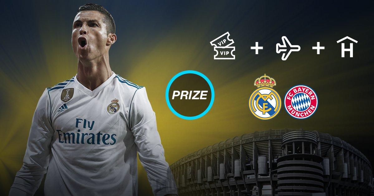 🎟✈🏟 Gana una entrada doble VIP para el #RealMadrid – @FCBayernES + vuelo i/v a Madrid + 2 noches de hotel. ¡Participa! 👉aplicacion.realmadrid.com/p/25157?lc=spa