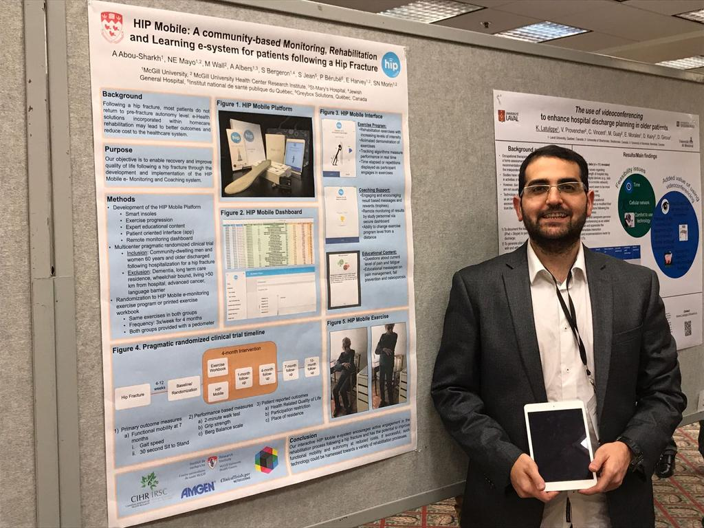 We are also at the Canadian Geriatrics Society conference, presenting our latest projects on frality and HIP mobile. Our students did a fantastic job!  #healthresearch #Rehabilitation #physiotherapy #healthoutcomes #research #mcgill #geriatrics #mcgillspot<br>http://pic.twitter.com/6WEiMtRs3w