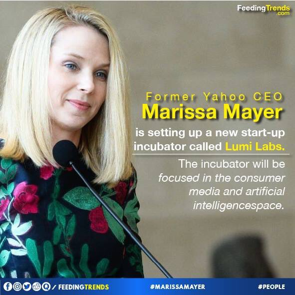 Marissa Mayer is setting up new start-up incubator! This is sure to uplift the faith of people in startups and unleash new opportunities. #FeedingTrends #ft #rt #incubation #enterpreneurship  #StartupChats #startuplife #Feeding #trends #Trending #nowtrending #SundayBrunch <br>http://pic.twitter.com/cd6IXWlhfu
