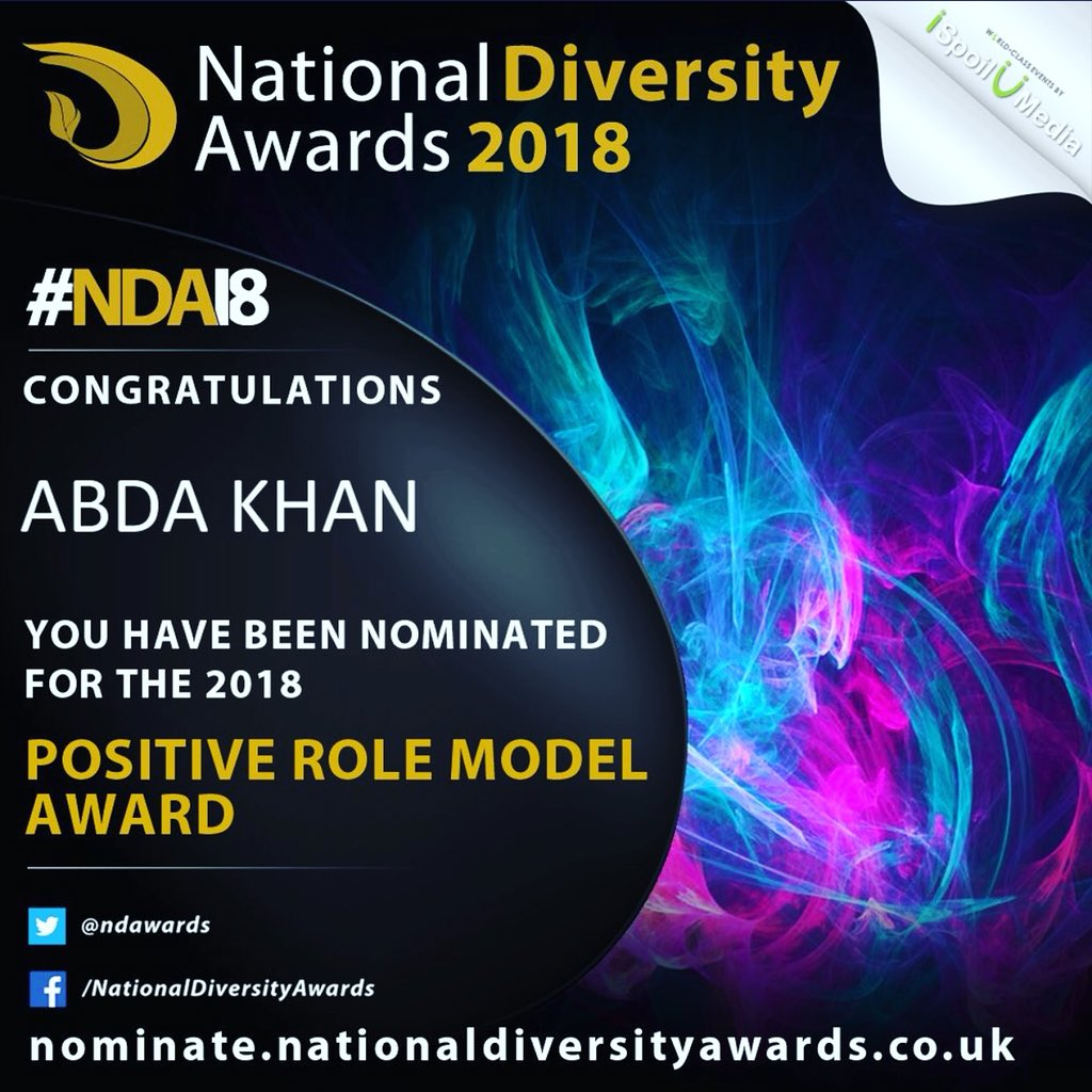 I have been nominated for a @ndawards National Diversity Award as a Positive Role Model for my #gender work. If you have a couple of minutes please vote for me &amp; share the link. Thank you  https:// nominate.nationaldiversityawards.co.uk/Nominate/Endor se/32601?name=abda &nbsp; … <br>http://pic.twitter.com/X0kEzJfDS0
