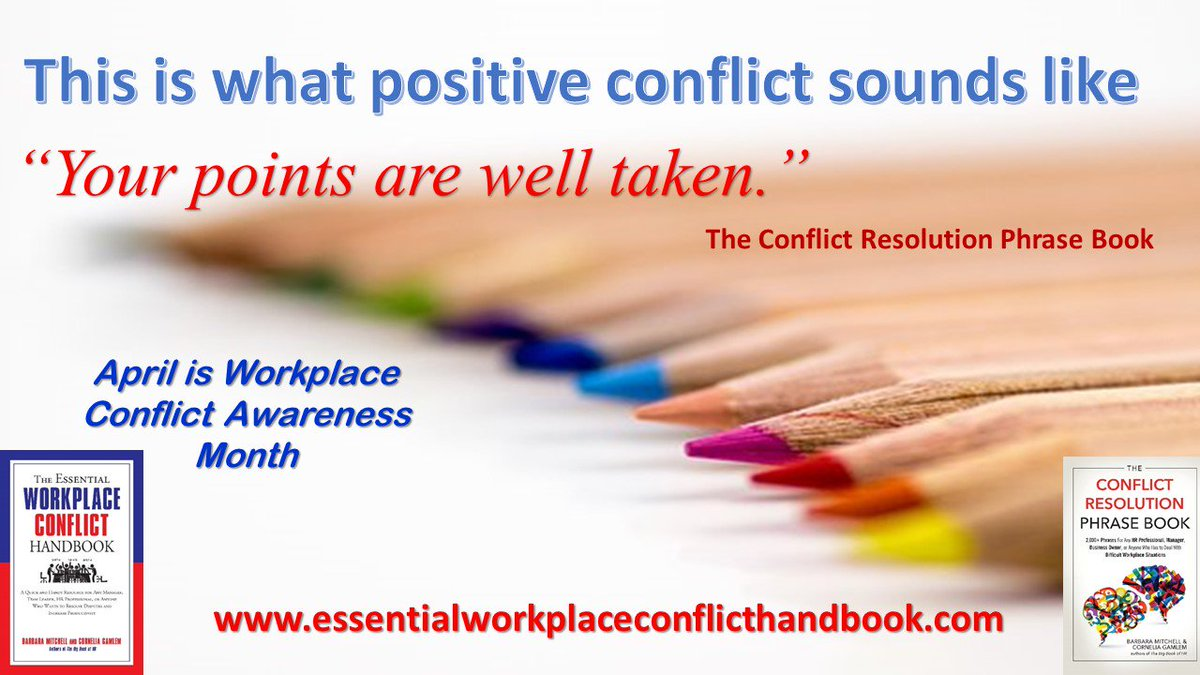 #WorkplaceConflictAwarenessMonth #conflictresolution #TheEssentialWorkplaceConflictHandbook #The ConflictResolutionPhraseBook #position-basedbargaining #generationaldifferences #changingtechnology #globalization<br>http://pic.twitter.com/M2zXMcKKxH