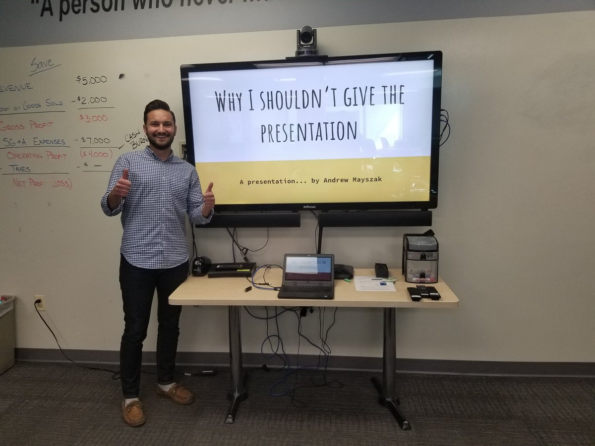 Too late to makeup his @incubatoredu Unit 6 Share Back so @Andrew_Mayszak &#39;s makeup presentation is on &quot;Why I Shouldn&#39;t Give the Presentation&quot; #differentiation #creative #nchspride<br>http://pic.twitter.com/mLvz5HXL9e