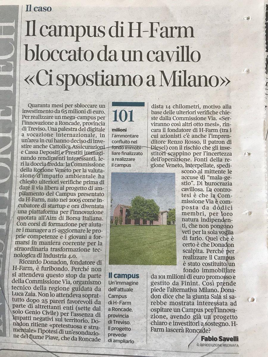 Ma dove andiamo se in Veneto un progetto straordinario d'innovazione come HFarm non supera da 4anni il si' di ben 26 Enti diversi della PA?