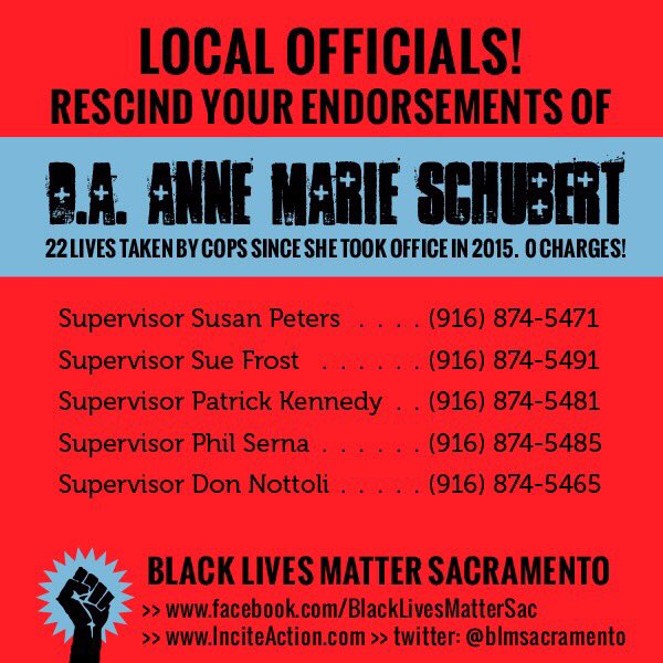 It's Friday y'all. Blow up those phone lines. Get those endorsements dropped.   Tell these supervisors to stop supporting State Violence and Terrorism.   #BlackLivesMatter  <br>http://pic.twitter.com/hsEkEuBNlL