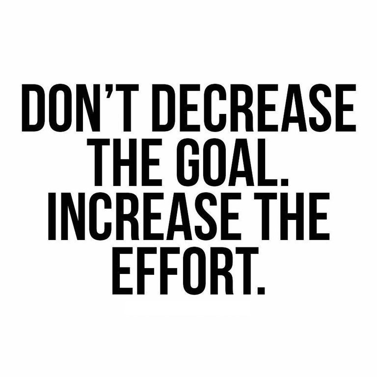"""Don't decrease the goal. Increase the effort."""