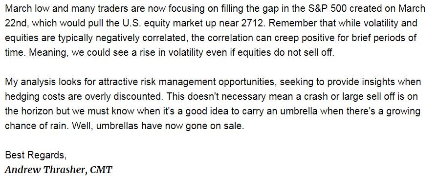 Here's a small excerpt of what was sent to Thrasher Analytics subscribers on Tuesday when volatility was being overly discounted. I wasn't expecting a large spike in the $VIX, but a bounce shouldn't have been ruled out.