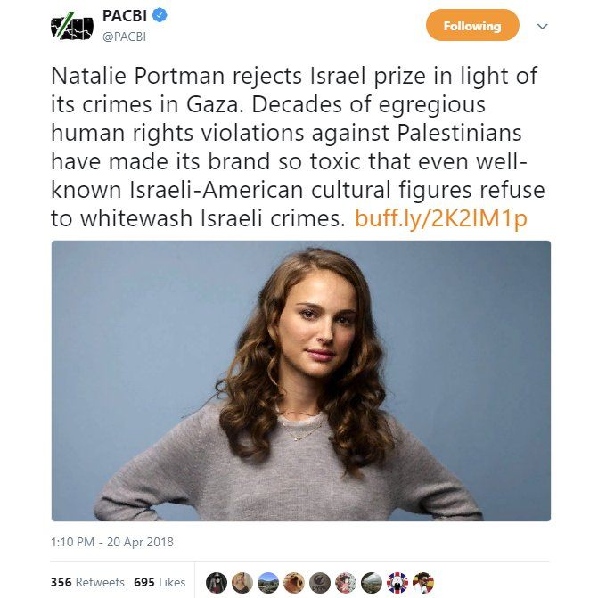Thank you #NataliePortman for this; the zionist state needs more people from within daring to openly condemn the constant #warcrimes against #Gaza.  If they do strip you of  that #Israel-i citizenship, nothing of any value will have been lost.  Respectful regards from #Norway.  <br>http://pic.twitter.com/CQDYvMyqeD
