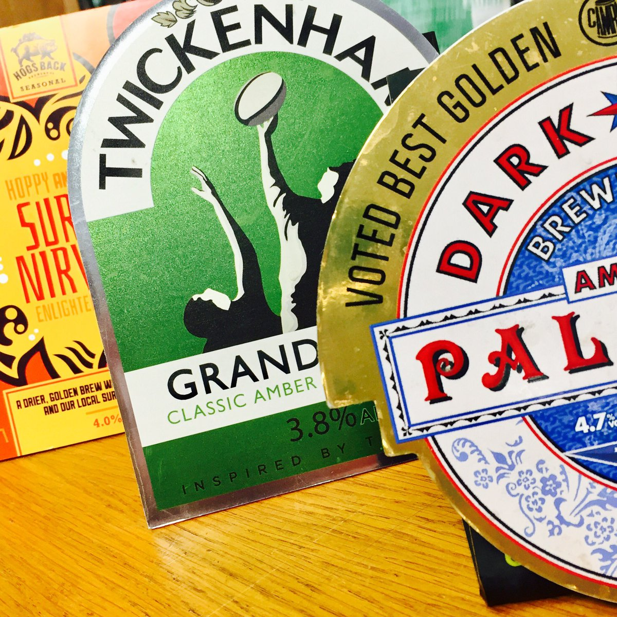 This is what we tapped today @HogsBackBrewery #nirvana @TwickenhamAles #grandstand @Darkstarbrewco #apa Come and get your BBQ beers now... <br>http://pic.twitter.com/Mo39doNPYH