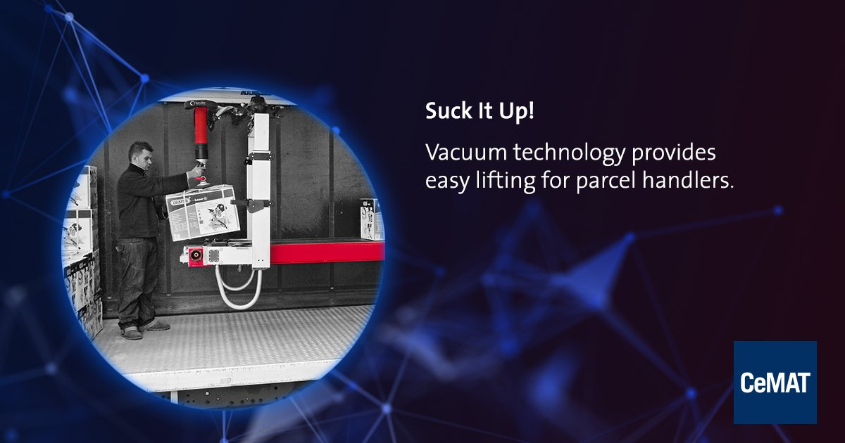Light as air: Vacuum #technology makes working a breeze! An innovative approach for efficient handling #services that also reduces the physical strain on staff.  #CeMAT https://t.co/bVYW92Yz76