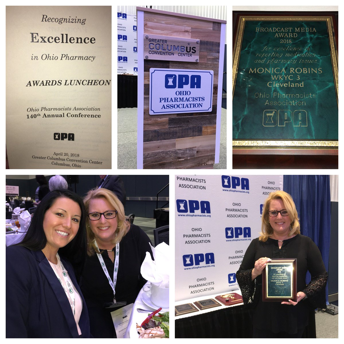 Thank you to the Ohio Pharmacists Association for presenting me with their Broadcast Media Award for the story I did on @Drug_Mart pharmacist Kara Bloom who discovered skin cancer on a woman getting a flu shot!  @wkyc @OhioPharmacists