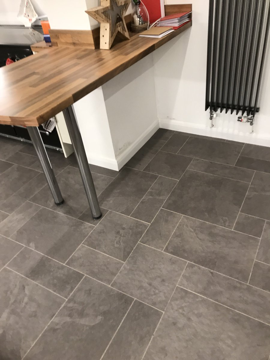 Concrete Subfloor Prepared With F Stopgap 1200 Screed And Random Slate Tiles Stuck Down Karndean Universal Adhesivepic Twitter Cnxnqbv0og