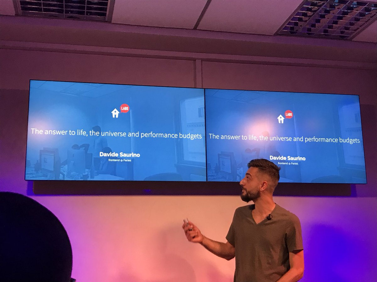 The answer to live, the universe and #performance #budget by Davide at @ImmobiliareLabs. Awesome talk treated really in the depth with many tips! <br>http://pic.twitter.com/7JSlTu85be