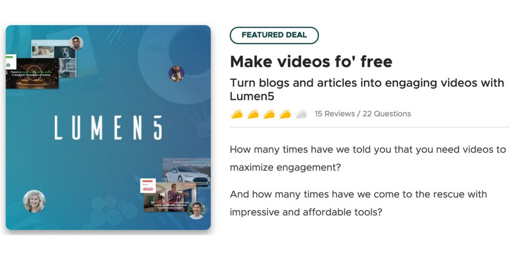 Grab the Lumen5 video creator for FREE for a limited time through this AppSumo deal &gt;  https:// appsumo.com/lumen5/  &nbsp;   #Marketing #VideoMarketing #video #YouTube #Facebook<br>http://pic.twitter.com/lBkXa9eiSA