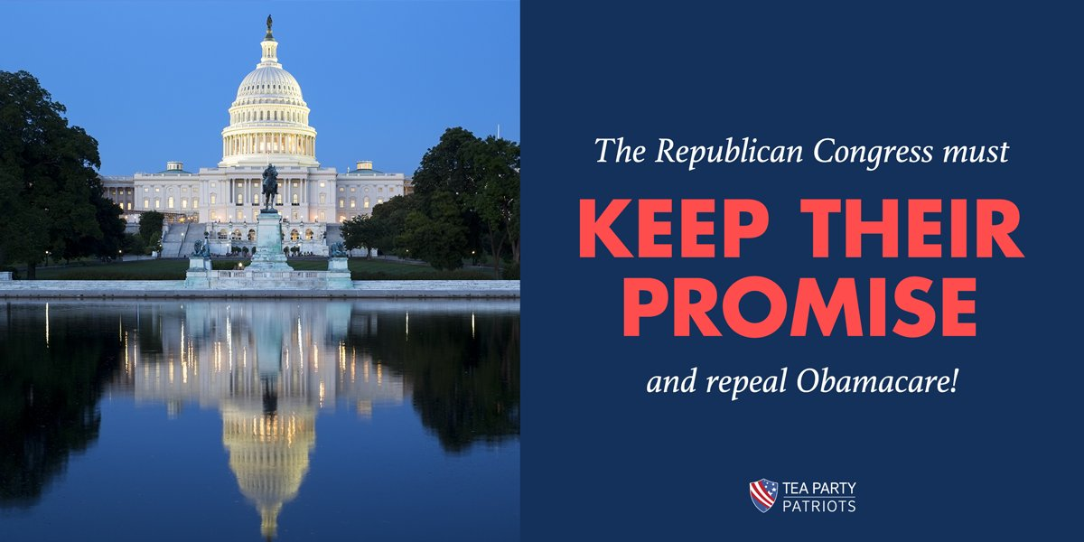 Republican Congressional members must fulfill their promise and fully repeal #Obamacare this year! #TeaParty