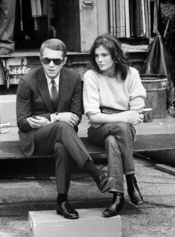 Goodnight all. Steve McQueen and Jacqueline Bisset on the set of Bullitt directed by Peter Yates, 1968. #Cinema <br>http://pic.twitter.com/HLkUUNVmK3