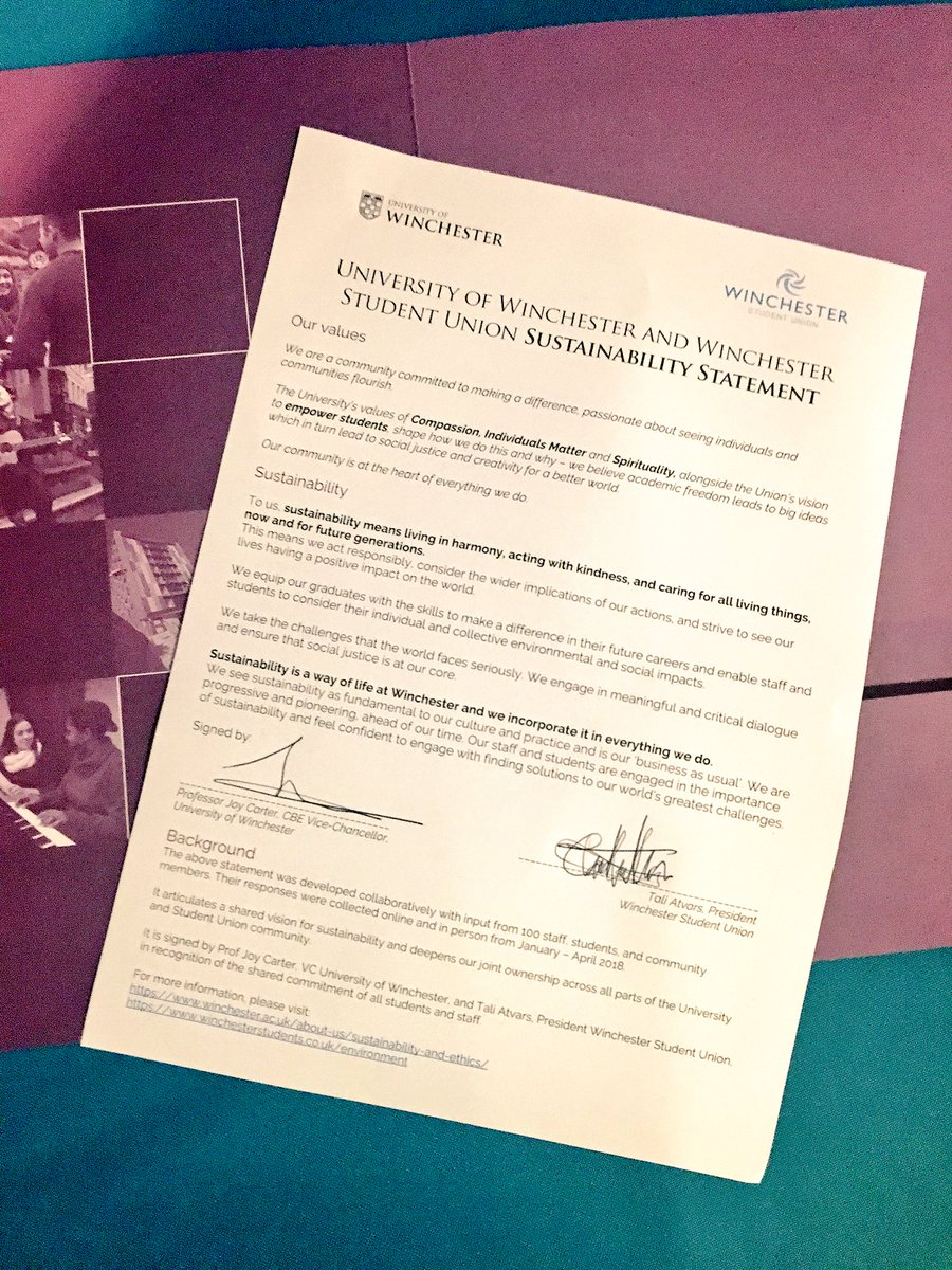 So proud of @winchestersu and @_UoW for co-signing this #sustainability statement today - created through the input of 100+ staff, students, &amp; community members.  Big thanks to @WinchesterPres Tali Atvars and VC Joy Carter for their joint leadership. <br>http://pic.twitter.com/W5Wncuol6c