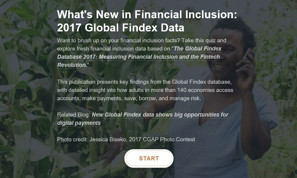 What&#39;s New in #FinancialInclusion: Take this quiz to learn about the latest trends in financial inclusion  https:// bit.ly/2Hh4QaM  &nbsp;   @MFGateway @GlobalFindex @WBG_Finance<br>http://pic.twitter.com/u4jAtsFwNg
