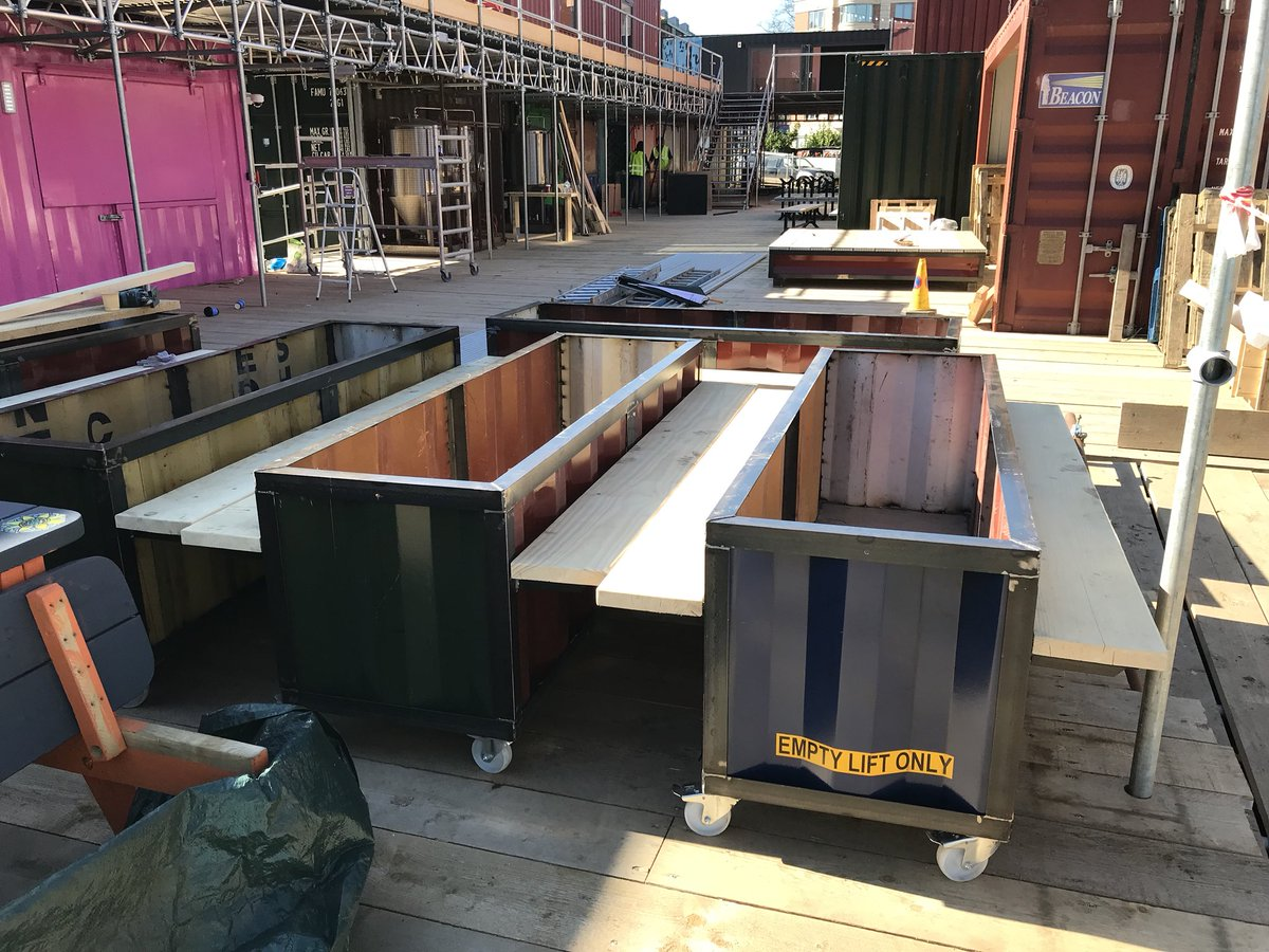 Linear planters formed by ship container off cuts have arrived on site @Spark_York . Brilliantly made by @MKMCreations . An exciting atmosphere today amongst many friends @uncdesign_york @RVintEng #york <br>http://pic.twitter.com/aBWzPPSLXb