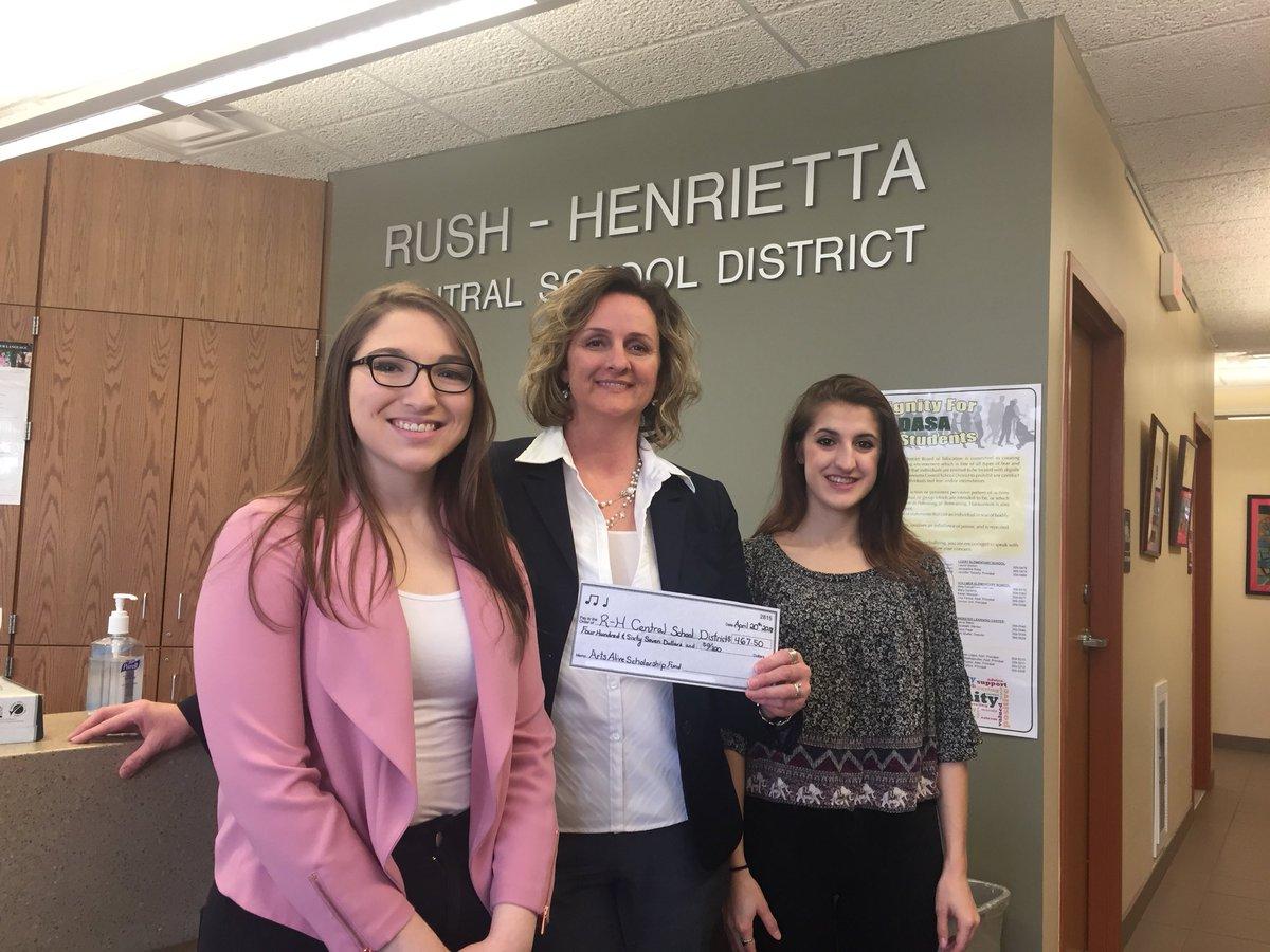 Nazareth College C-NYSSMA/NAfME students presenting a check
