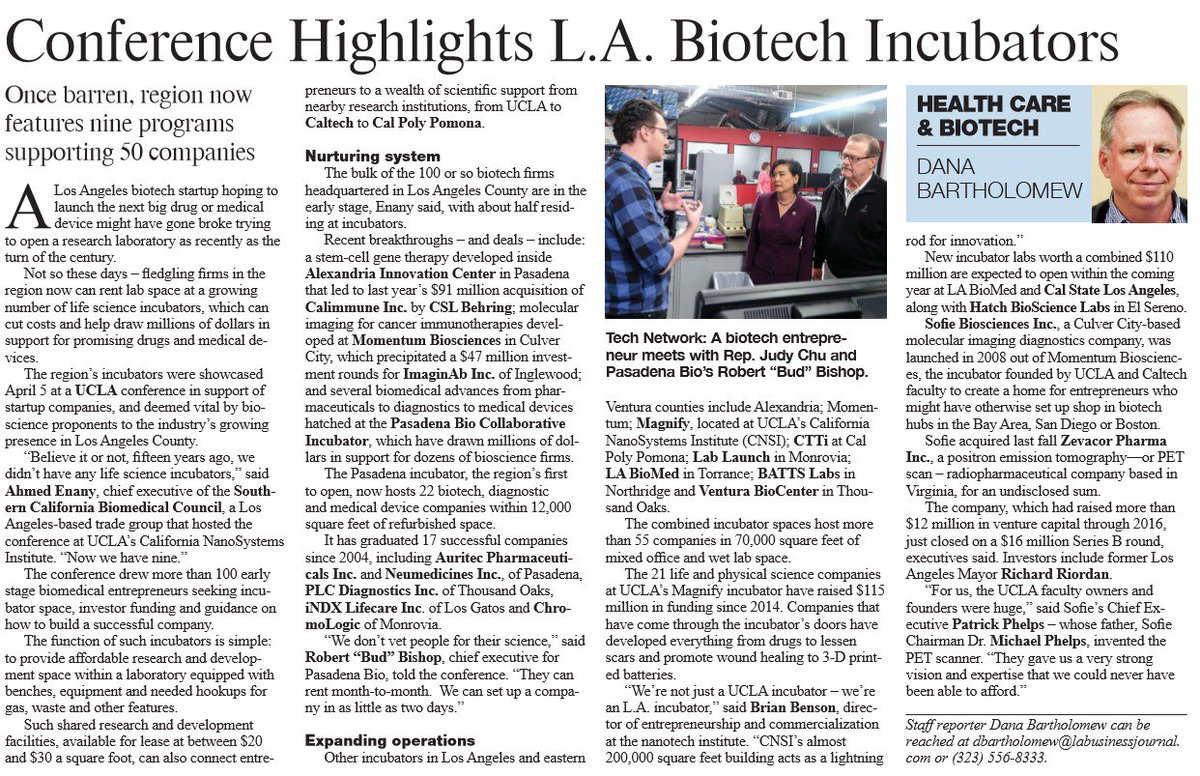 "L.A region continues to make its mark with #BioScience #Biotech innovation -- ""Conference @CNSIatUCLA Highlights L.A. Biotech Incubators""  http:// socalbio.org/wordpress/wp-c ontent/uploads/2018/04/incubators-article.pdf &nbsp; …  from @SoCalBio  #CNSI #UCLA<br>http://pic.twitter.com/TAGHIXEIND"