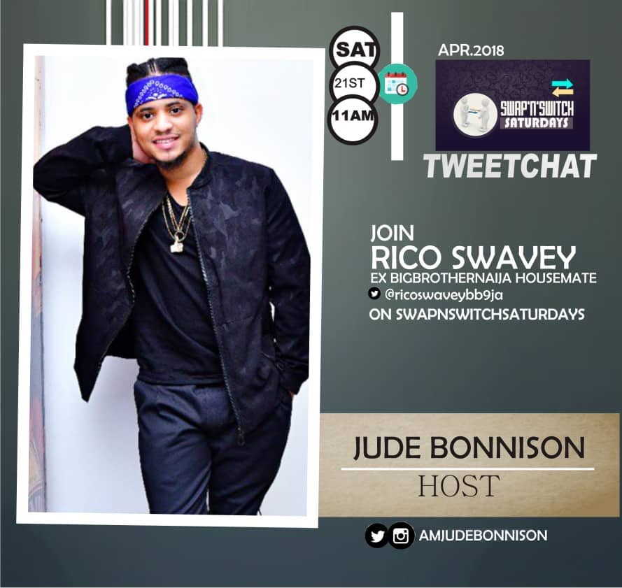 Uno it&#39;s only on #swapnswitchsaturdays you get your accolades right?   Our husband material (1000 yards)RICO SWAVEY ( @ricoswaveybb9ja @ricoswavey_official ) will be hosted this SAT by @amjudebonnison on twitter.  11am.  Follow Us &amp; Tell all the ladies. <br>http://pic.twitter.com/ywMwyxMt9a