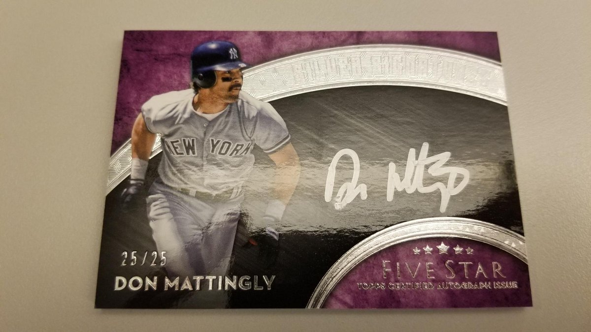 It's Don Mattingly's birthday, and this @toppscards Five Star autograph card is ridiculous.    RT for a chance to get your hands on#MLBCards it.