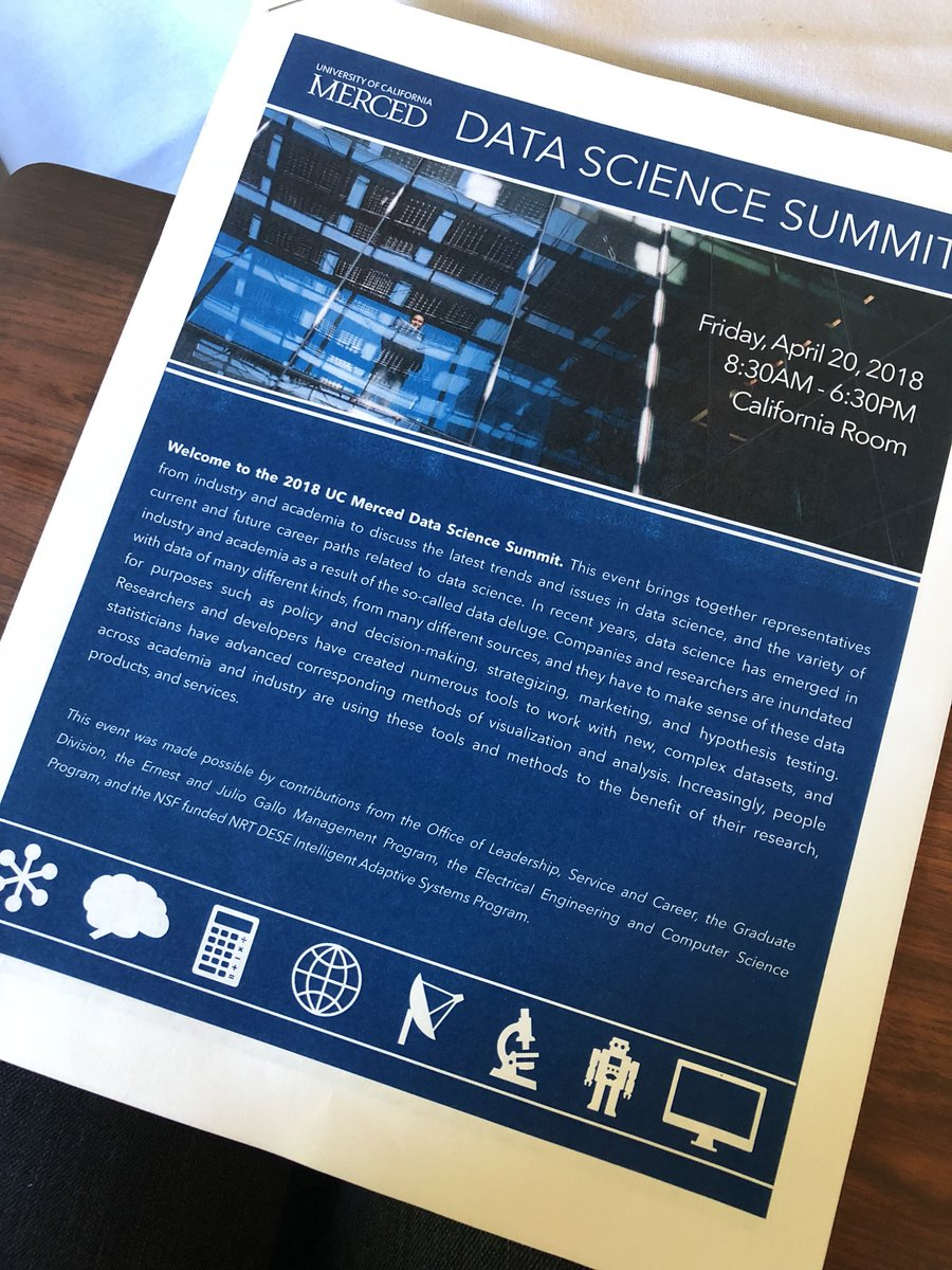 Data Science Summit @ucmerced ... fantastic group of people from #academia and #industry talking about approaches and issues in #datascience<br>http://pic.twitter.com/EW3EB3Ryha
