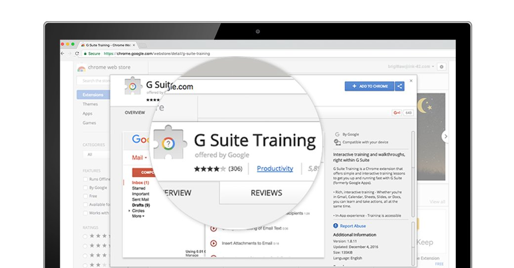 New to #gsuite? The G Suite Training Chrome extension offers walk-throughs and interactive lessons. goo.gl/DQciQx