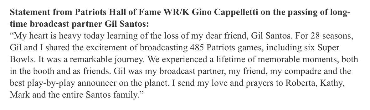 Statement from Gino Cappelletti on the p...