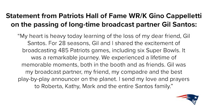 Statement from Patriots Hall of Fame WR/...