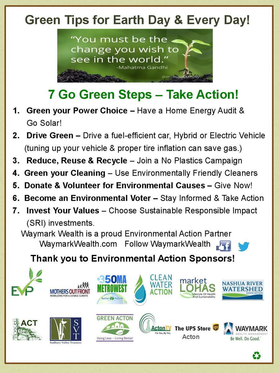 Waymark Wealth 7 Green Earth Day Tips 4 Conscious LOHAS Consumers! Green your Energy, Drive Green, 3Rs , Eco Clean, Give 2 Environmental Organizations, ACT @Enviro_Voter VOTE &amp; Invest #Green! #EarthDay #greentips #sustainability #WaymarkWealth #SRI #MarketLOHAS #Boston<br>http://pic.twitter.com/AZUrTwFLQS