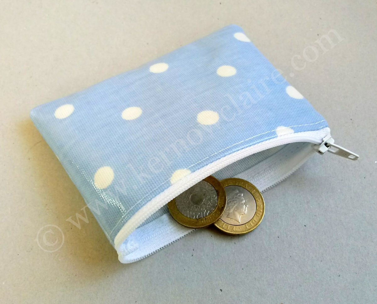 Baby blue coin purse with white spots, handmade in oilcloth, fits cards or coins and water resistant. #giftforher #ladiespurse #pocketpurse #shabbychic #shopsmall #smallbiz #etsyseller  https:// buff.ly/2vw7XpG  &nbsp;  <br>http://pic.twitter.com/p4mc0yYiws