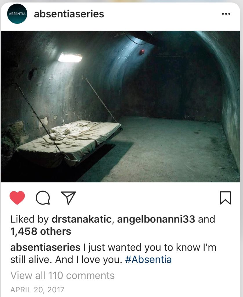 "1 year ago today @AbsentiaSeries posted this #Absentia photo with caption. ""I just want you to know I am still alive. And I love you. We had no idea why or what was this room and that caption  @Stana_Katic 1 more post for first week IG debut April 15-21, 2017 @AbsentiaSeries<br>http://pic.twitter.com/wQNZqabIfb"