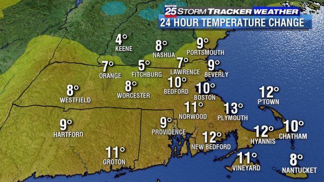 Big change in the last 24 hours... and even more changes on the way this weekend. More on the warm-up on #Boston25 news right now!