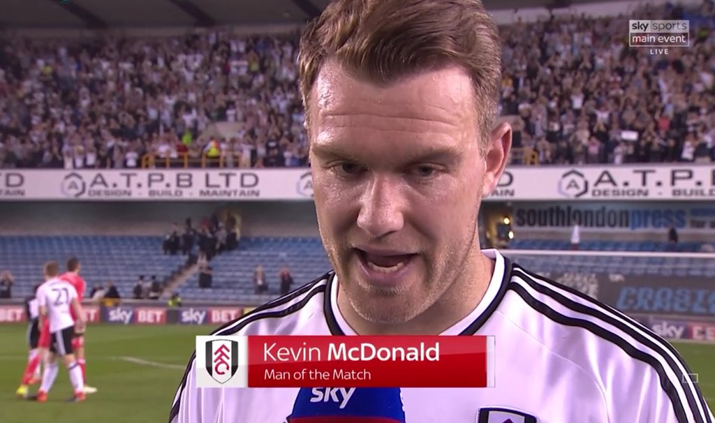 Man of the Match, @FulhamFC's Kevin McDonald 99 touches Completed 71/79 passes 1 chance created 2 shots, 1 on target 3rd goal of the season