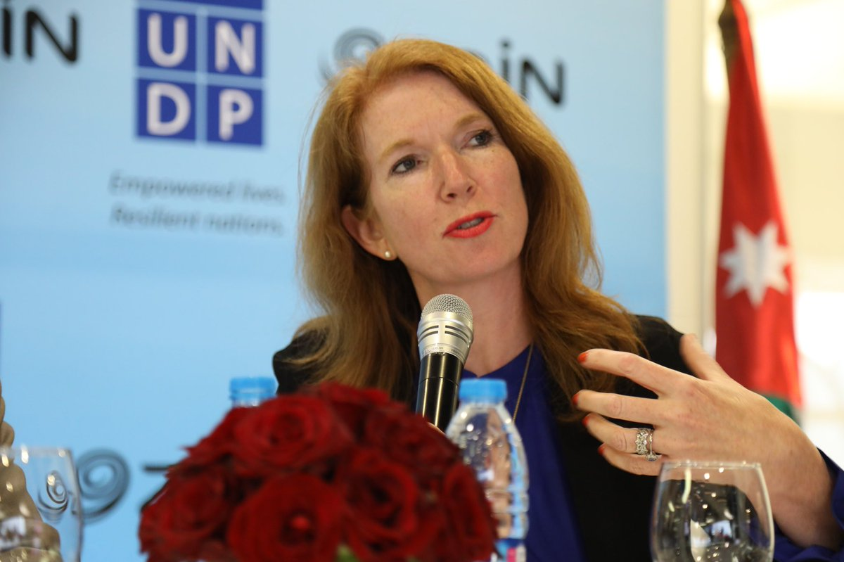"""""""Since the start of the Syrian crisis, Jordan has been bearing a huge burden and has yet managed to build on its national capacities to enhance communities' resilience both for the refugees and the local communities"""" said Sarah Poole #UNDP #SyriaConf2018  https:// goo.gl/x5CMu1  &nbsp;  <br>http://pic.twitter.com/Ylhr2DAUgU"""