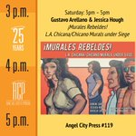 "We are so excited that @GustavoArellano & Jessica Hough (of @CAHistory) will join us Saturday afternoon to sign the #PSTLALA book ""¡Murales Rebeldes! L.A. Chicana/Chicano Murals under Siege."" #Bookfest"