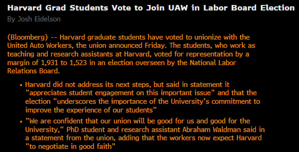 .@UAW announces it has won NLRB unionization election among Harvard graduate student employees, 1,931 to 1,523. Vote follows previous election thrown out by NLRB, and comes days before planned UAW strike at Columbia over university's refusal to bargain