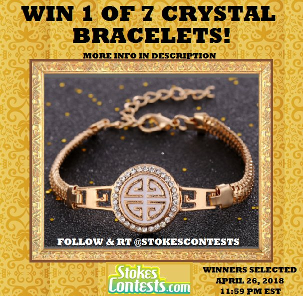 NEW!FOLLOW &amp; RETWEET to #WIN 1 of 7 #CRYSTAL #Bracelets!!7 WINNERS chosen in 1 WEEK! from FOLLOWERS &amp; RT&#39;ing our Tweets! MORE #Giveaways at  http:// StokesContests.com  &nbsp;   #Contests #sweepstakes #competition #jewelry #jewellry #bracelet #mothersdaygift #mothersday<br>http://pic.twitter.com/4RNsclHsJD
