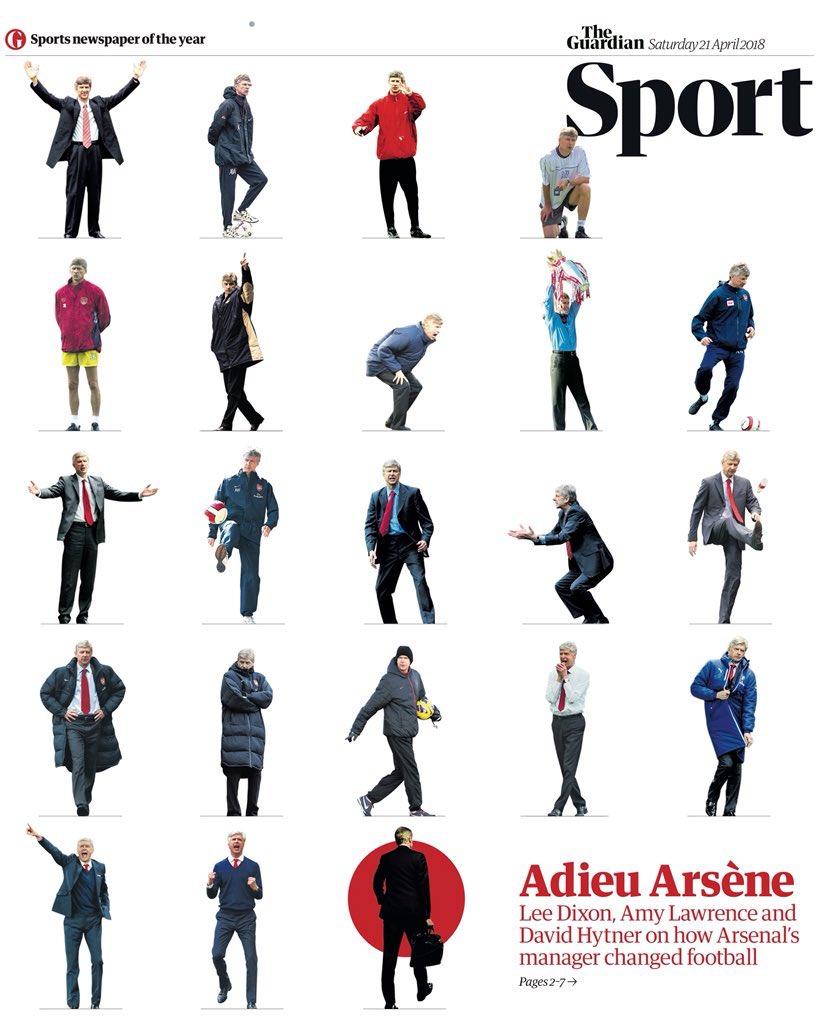 La sublime une du Guardian ce samedi, au lendemain de l'annonce du départ d'Arsène Wenger d'Arsenal.   Adieu Arsène. 👏