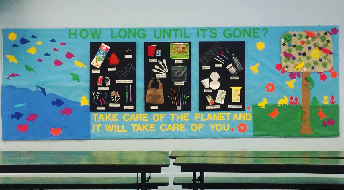 Green Team's Earth Day Mural #plasticfree #greenschool #sustainability #earthday #reducereuserecycle #bepartofthesolution #bethechange <br>http://pic.twitter.com/CnqFkkNBKp
