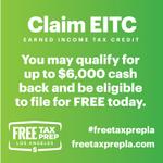 ¿Sabía que puede reclamar su #EITC durante todo el año? Muchas personas no lo hacen y el dinero que se debe a los contribuyentes permanece en manos del gobierno. ¡Recupera su dinero! #FreeTaxPrepLA