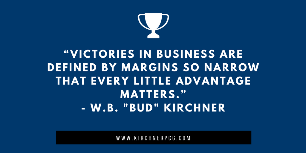 """""""Victories in business are defined by margins so narrow that every little advantage matters."""" - W.B. &quot;Bud&quot; Kirchner #BusinessStrategy #FridayMotivation<br>http://pic.twitter.com/epx5g2nVQJ"""