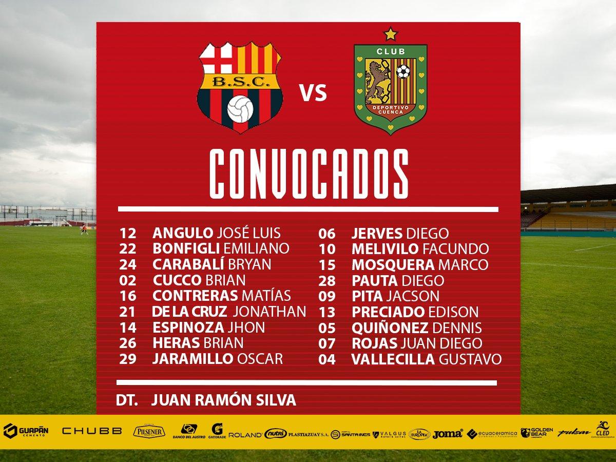 Convocatoria del Deportivo Cuenca para visitar a Barcelona S.C.