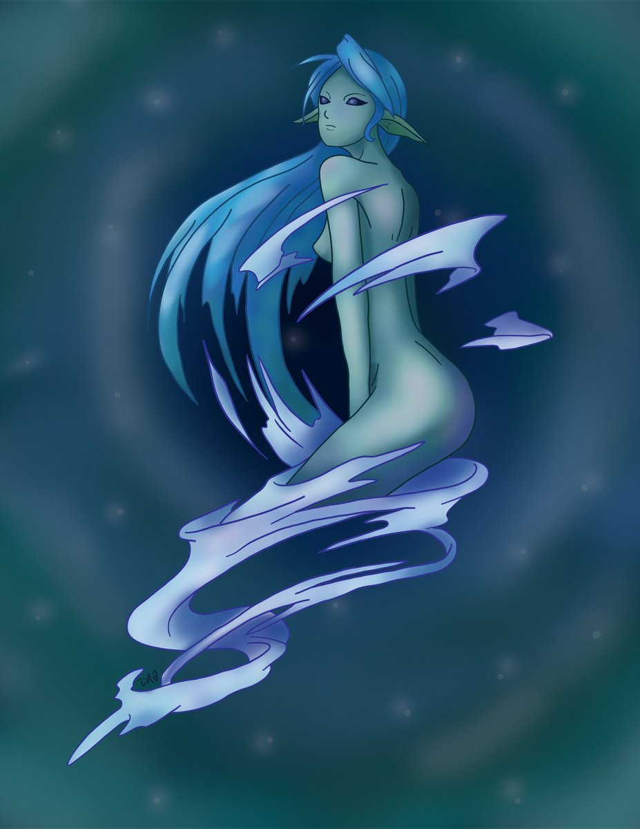 Excited to share the latest addition to my #etsy shop: Undine / Water Elemental 8.5x11&quot; Print  https:// etsy.me/2JdE1kd  &nbsp;   #art #print #digital #undine #water #elemental #spirit #smt #persona<br>http://pic.twitter.com/j5tCCuuPy1