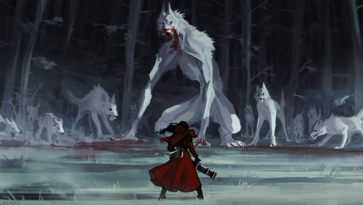 The blood-soaked muzzle and elongated limbs of the alpha wolf make a worthy enemy for the red-hooded guardian in this digital reimagining of the fairy tale. https://t.co/QBUArKb2LZ
