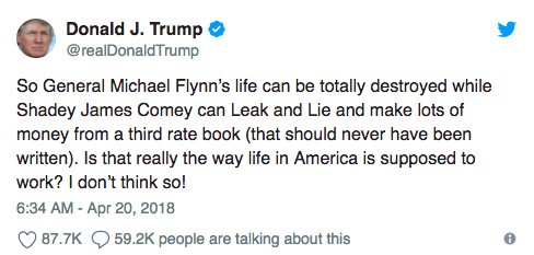 More from the Comey memos: The only time Trump dissed Flynn was to the FBI director after Trump was told the FBI know Flynn was lyinghttps://t.co/35c9svl6Ip.   @VeraMBergenw/